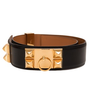 Hermès Hermes Black Calfskin Leather Collier de Chien Medor Belt 80cm