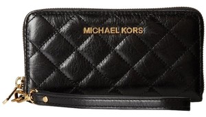 Michael Kors Susannah Quilted wallet Wristlet Jet set item MF Phone case NWT