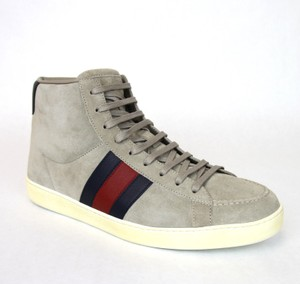 Gucci New Authentic Gucci Mens Suede High-top Sneaker W/brb Leather Web Detail 337221 Light Gray Size 10 G/us 10.5