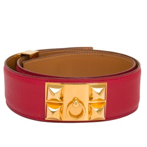 Hermès Hermes Vintage Rouge Vif Leather Collier De Chien Medor Belt 70cm