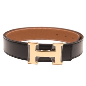 Herms Hermes 32mm Reversible Black/Gold Constance H Belt Gold Buckle 85 cm