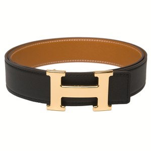 Hermès Hermes 32mm Reversible Black/Gold Leather Constance H Belt 90cm
