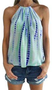Tangerine NYC Silk Green/blue tie-dye Halter Top