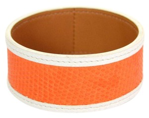 Hermès Hermes Orange and White Lizard Bangle
