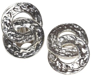 Hammered Medallion Sterling Silver Plated Clip On Earrings
