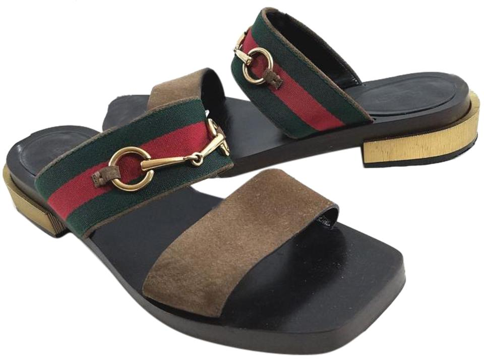 eefba41e87e Gucci Leather Lining Goldtone Horsebit Double Band Made In Italy Brown  Suede Sandals Image 0 ...