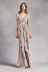 White By Vera Wang Stone V-neck Wrapped Bodice Dress With Satin Belt Dress