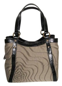 Montblanc Canvas Leather Trim Tote in Taupe/Black