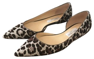 Jimmy Choo Black, gray, and brown animal print Flats