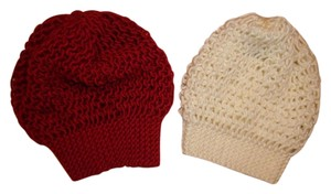 Loose Knit Slouchy Beanie Hats LOT of 2