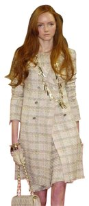 Chanel Tweed Long Coat Silk Suit Pastel Blazer