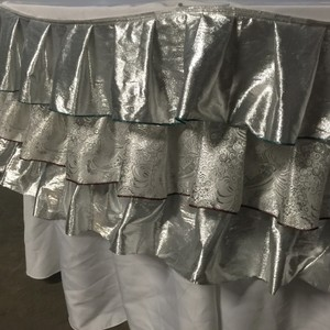 12 Custom Silver Ruffle Table Skirts