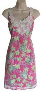 Lilly Pulitzer short dress Pink, green Pineapple Lace on Tradesy