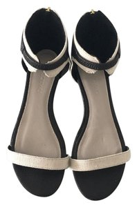 Jason Wu Black leather with off white canvas Sandals