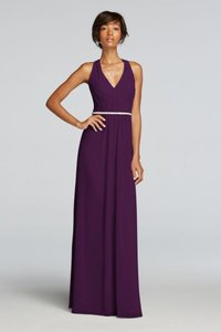 Plum Plum / Wonder By Jenny Packham / Chiffon Dress With V-neck And Criss-cross Back / Style# Jp291638 Dress