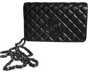 Chanel Black Lamb With Silver Glaze Wallet on Silver Chain Brand New and Perfect, Flawless and Limited Adittion Sold Out! Cross Body Bag
