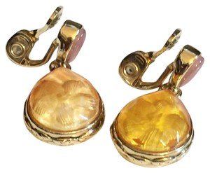 MONET Monet Gold Fire Opal Stone Dangle Clip On Earrings