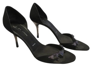 St. John Stiilleto Gunmetal Hearts Black Sandals