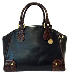 Brahmin Tyler Tuscan Dome Leather Satchel in Black