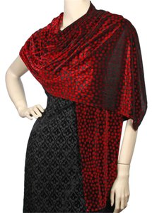 Other Red Black Stretch Velvet Printed Shawl with Dots