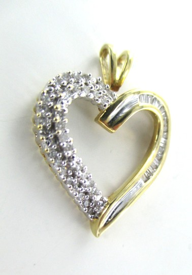 Other 14K SOLID YELLOW GOLD PENDANT HEART 51 DIAMONDS LOVE ENGAGEMENT VALENTINES HER