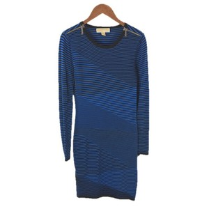 MICHAEL Michael Kors Knit Silver Hardware Logo Striped Pullover Dress