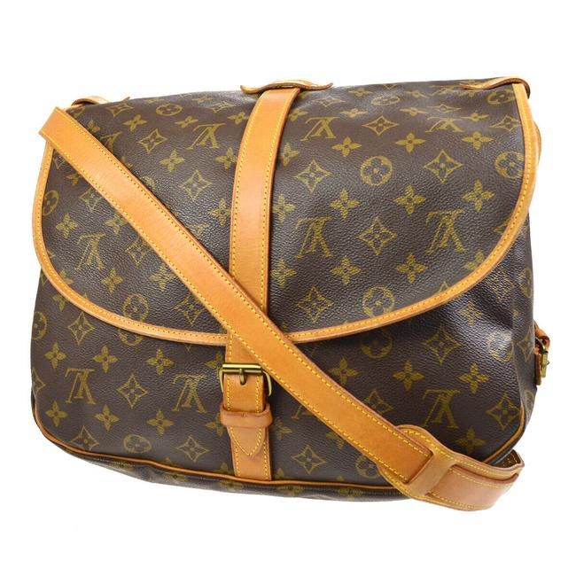 Item - Saumur 35 Brown Monogram Canvas and Calfskin Cross Body Bag