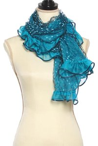 Other Teal Polyester See Thru Lace Ruffled Scarf
