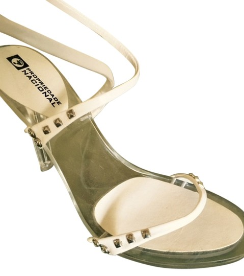 Other Studded WHITE WITH PLEXY HEELS Sandals Image 2