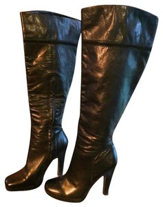 Jessica Simpson Leather Slouchy Black Boots