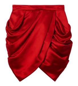 Balmain x H&M Silk Mini Skirt Red