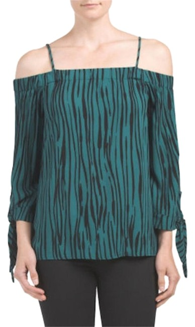 Item - XS Off Shoulder Tie Sleeves Boho Size Green and Black Top