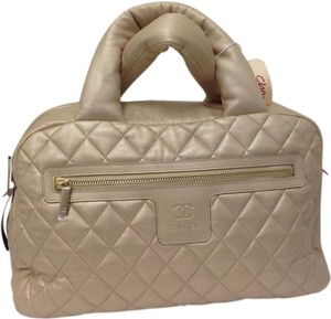 Chanel Leather Quilted Satchel in Cream
