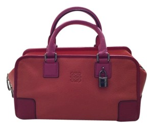 Loewe Elegant Spain Signature Covered Key Satchel in Orange with pink handles