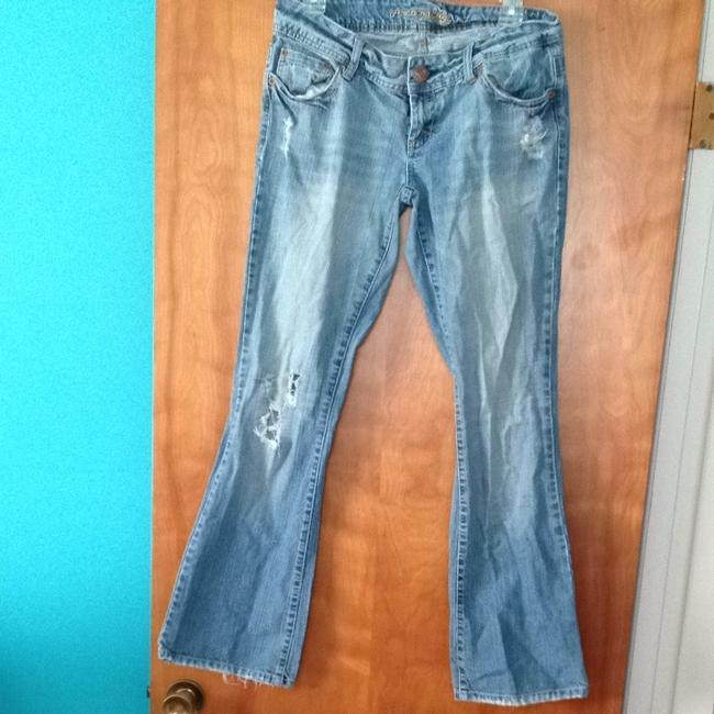 American Eagle Outfitters Distressed Boot Cut Jeans-Medium Wash