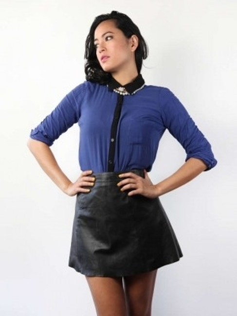 Splendid Button Down Shirt Blue and Black