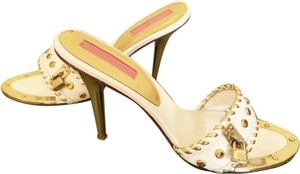Betsey Johnson Vintage Hard To Find WHITE LEATHER/GOLD TRIM Sandals