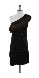 Trina Turk short dress Black Gold Wool One Shoulder on Tradesy