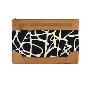 Diane von Furstenberg Brown Black Print Clutch