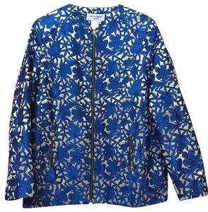Helene Berman England Designer Jacquard Zip Front Blue and Gold Jacket
