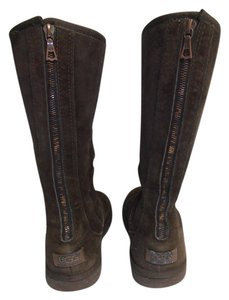 UGG Australia Suede Knee High Sheep Skin Zipper Back brown Boots