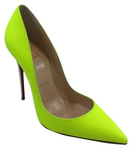 Christian Louboutin Leather Patent Leather Pump Neon Yellow Pumps