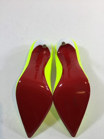 Christian Louboutin Leather Patent Leather Stiletto Neon Yellow Pumps