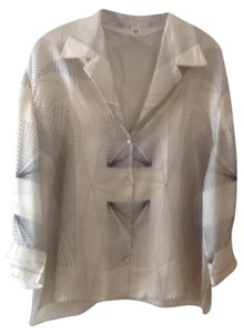 Herms Silk Silk Shirt Button Down Top Cream and Black