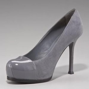 Saint Laurent Grey Suede/Patent Leather Pumps