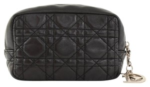 Dior Dior Cannage Black Leather Quilted Silver Charm Cosmetic Bag