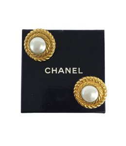Chanel Gold & Faux Pearl Clip On Earrings