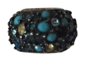 Chamilia Sterling Silver Jeweled Kaleidoscope Blue Black Swarovski Bead