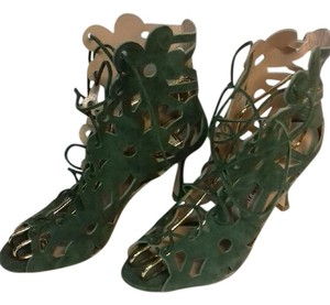 Manolo Blahnik Lace-up Cut-out Olive green Boots