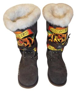 Ed Hardy Suede Designs Faux Fur brown Boots